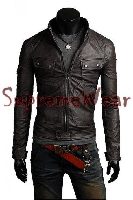 Handmade New Men Stylish Strap Pocket Bomber Leather Jacket, Men leather jacket,