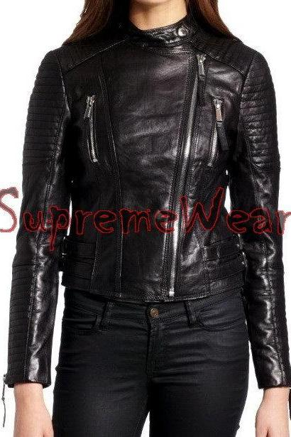 New Handmade Women Stylish Fine Stitching Lines Style Leather Jacket, Women leat