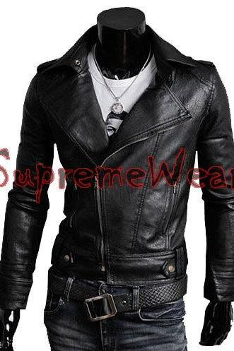 Handmade New Men Brando Style Slim Fit Black Leather Jacket, Leather jacket for