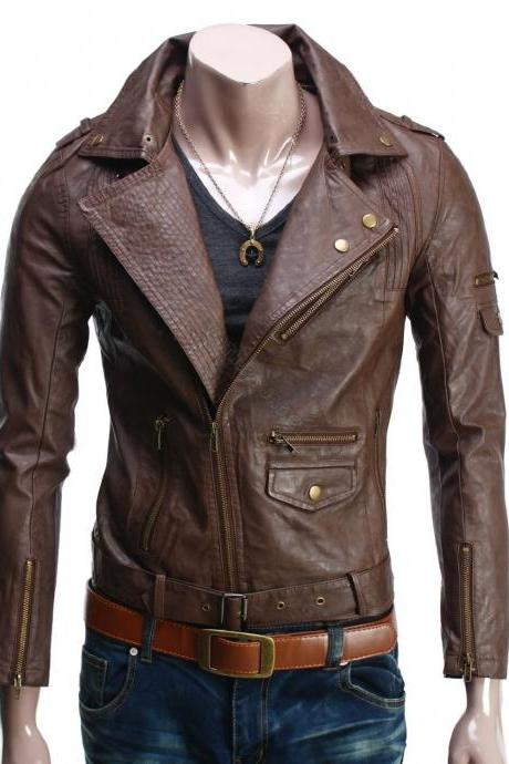 Handmade New Men Stylish Fine Stitching Brown Leather Jacket, Men Leather jacket