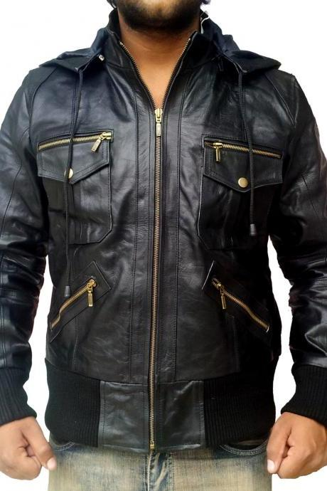 New Handmade Men Hooded Black Leather Jacket, Leather jacket for men