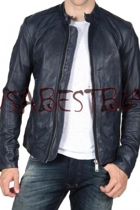 Handmade New Men Stylish Simple Vintage Bomber Leather Jacket