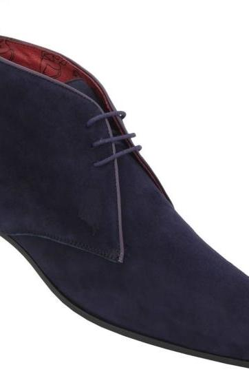 New Handmade Mens FASHION BLUE ANKLE SUEDE BOOT,MEN ANKLE-HIGH BOOTS