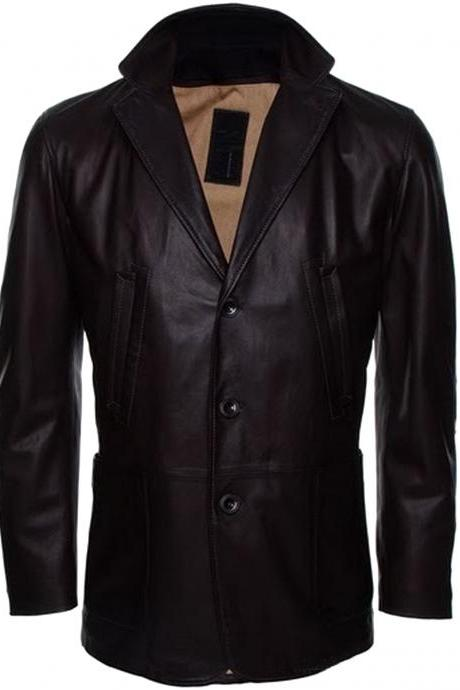 Handmade New Men Stylish Button Closure Classic Long Leather Coat, Men Coat