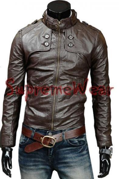 Handmade New Men Soft Button Front Leather Jacket, Men leather jacket, Leather j
