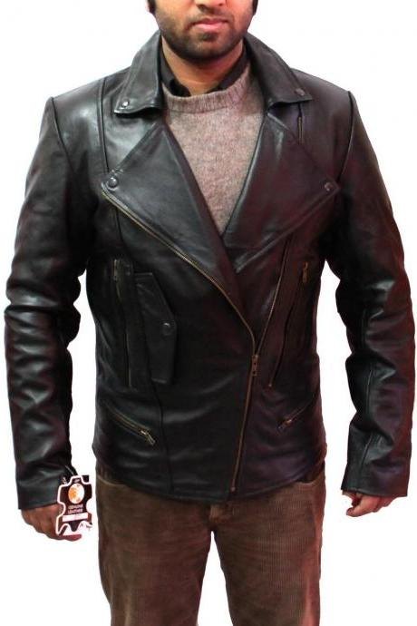 New Handmade Men Large Brando Collar Style Leather Jacket, Leather jacket for me
