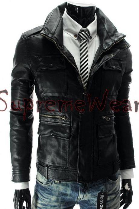Handmade New Men Front Multi Pockets Stylish Leather Jacket, Men leather jacket,