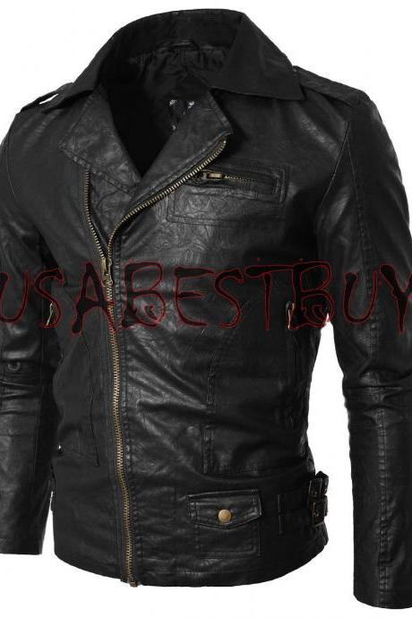 Handmade New Men Stylish Brando Simple Leather Jacket, Men leather jacket