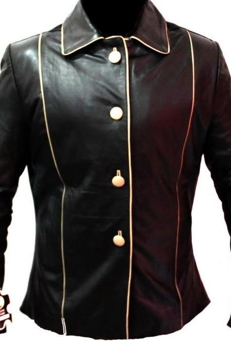 New Handmade Women Front Button Closure Leather Coat, Women leather jacket, Leat