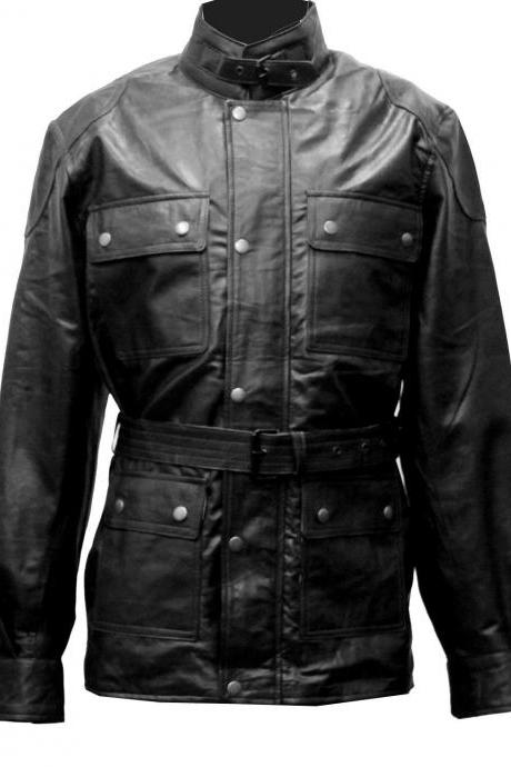Handmade New Men Front Four Flap Pockets Superb Leather Jacket, Men leather jack