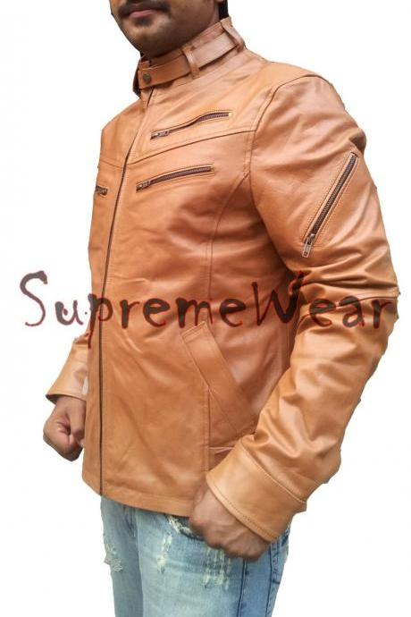 Handmade New Men Slim Fit Belted Collar Biker Leather Jacket, Leather Jacket for