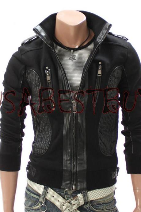 Handmade New Men Stylish Fabric cum Leather Bomber Jacket, Men Jacket