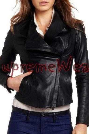 New Handmade Women Simple Gorgeous Collar Style Leather Jacket, Women leather ja