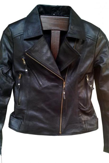 New Handmade Women Simple Brando Style Leather Jacket, Women leather jacket, Lea