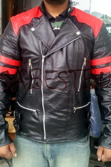Handmade New Men Stylish Brando Red and Black Bomber Leather Jacket