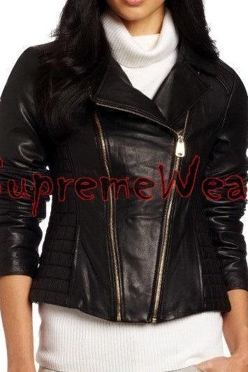 New Handmade Women Front Double Zipper Stylish Leather Jacket, Women leather jac