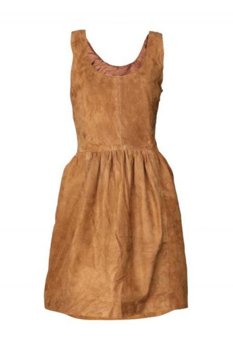 New Handmade Women Brown Leather Dress