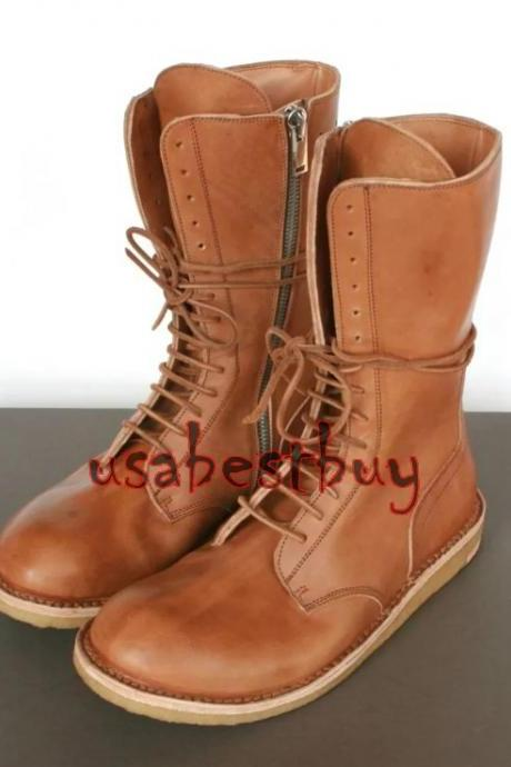 New Handmade Men Long Genuine Leather Boots with Crepe Sole, Men Long boots