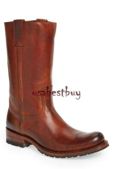 New Handmade Men Ankle High Genuine Leather Cowboy Boots, Men Brown High Boots