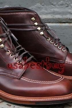 New Handmade Men Latest Style Real Leather Maroon Ankle Boots, Men leather boots