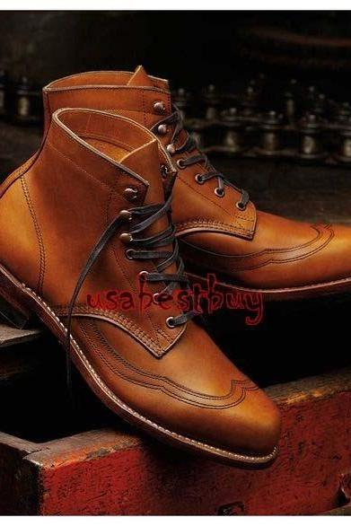 New Handmade Men Latest Style Real Leather Brown Ankle Boots, Men leather boots