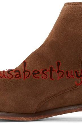 New Handmade Jodhpur Style Ankle Suede Leather Dark Brown Boots, Boots for men