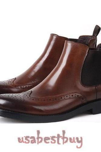 New Handmade Latest Style Brown Leather Chelsea Boots, Men Ankle leather boots