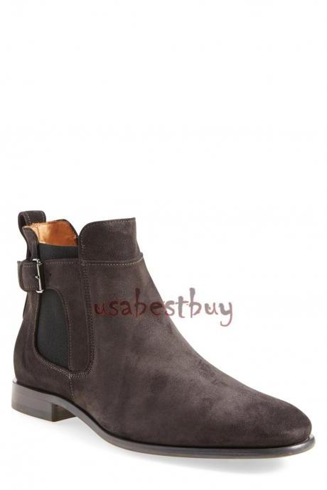 New Handmade Chelsea Buckle Style Real Leather Boots, Men real leather boots