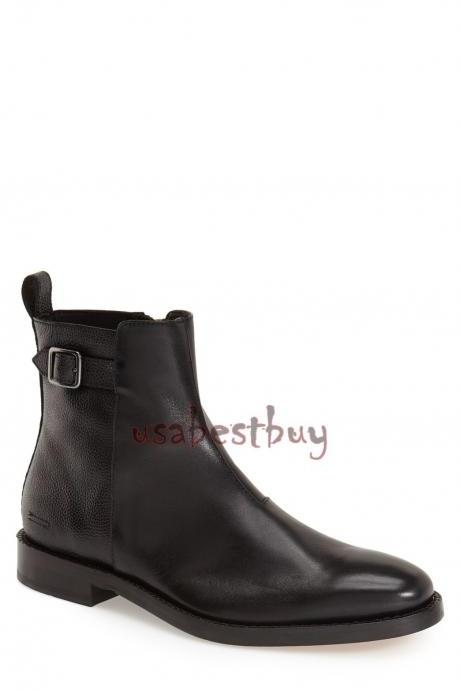 New Handmade Simple Style Black Leather Ankle Boots, Men Stylish leather boots