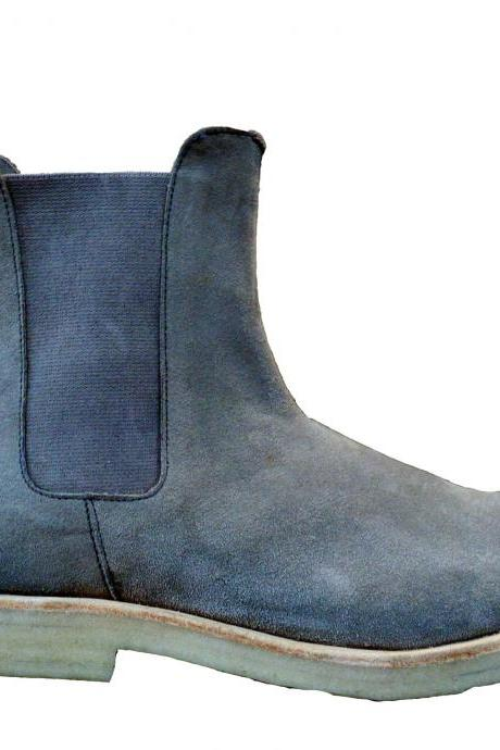 New Handmade Mens Grey Chelsea Suede Leather Boots with Thick Crepe Sole, Boots
