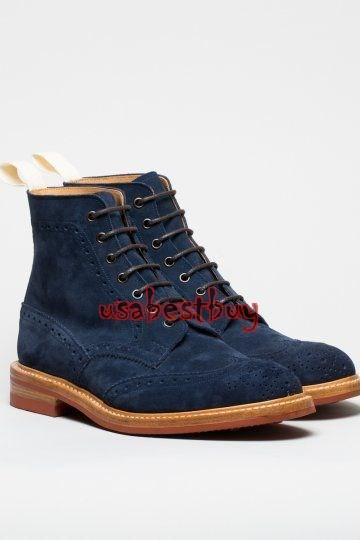 New Handmade Latest Style Blue Suede Leather Boots with Leather Sole, Suede Boot