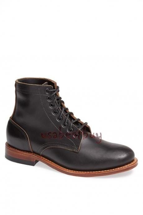 New Handmade Chukka Latest Style Genuine Leather Boots, Men Black leather boots
