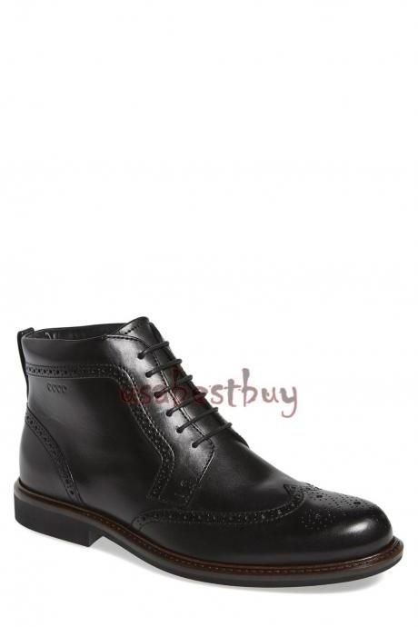 New Handmade Chukka Brogue Style Genuine Leather Boots, Men Black leather boots