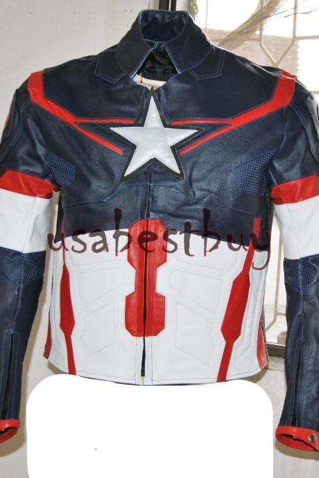 Handmade New Men Captain America Black Leather Jacket, Men Leather jacket Latest