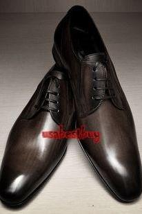 New Handmade Classic Style Real Leather Dark Brown Dress Shoes, Men Shoes