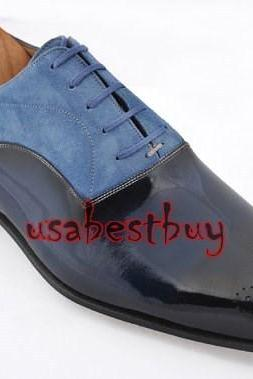 New Handmade Classic Simple Style Real Leather Two Tone Dress Shoes, Men Shoes