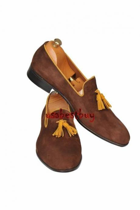 New Handmade Classic Style Rea Suedel Leather Brown Moccasins, men leather shoes