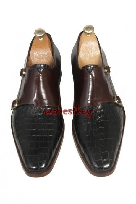 New Handmade Classic Monk Style Real Leather Two Tone Dress Shoes, Men Shoes