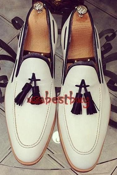 New Handmade Classic Style Real Leather White Moccasins, men leather shoes