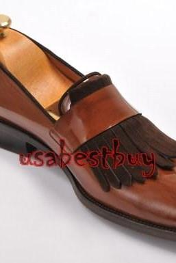 New Handmade Classic Style Real Leather Brown Moccasins, men leather shoes