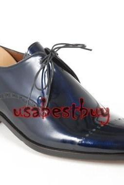 New Handmade Classic Brogue Style Real Leather Dark Blue Dress Shoes, Men Shoes