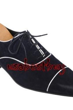 New Handmade Classic Piping Style Suede Leather Navy Blue Shoes, men shoes