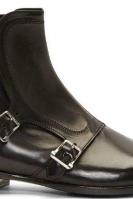 New Handmade Mens Black Stap Style Real Leather Ankle Boots, Men Ankle Boots