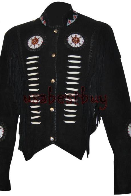 New Women Black Suede Leather Western Cowboy Jacket With Fringe, Bone and Beads