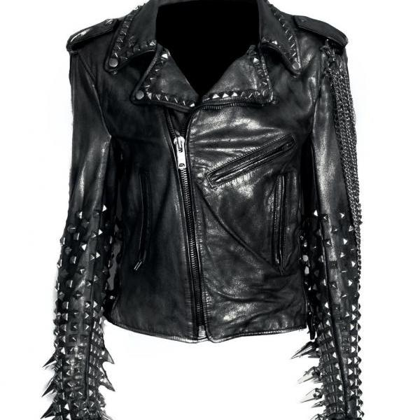 NEW WOMAN BLACK LONG SPIKED PUNK COWHIDE LEATHER JACKET WITH CHAINS XS TO 6XL
