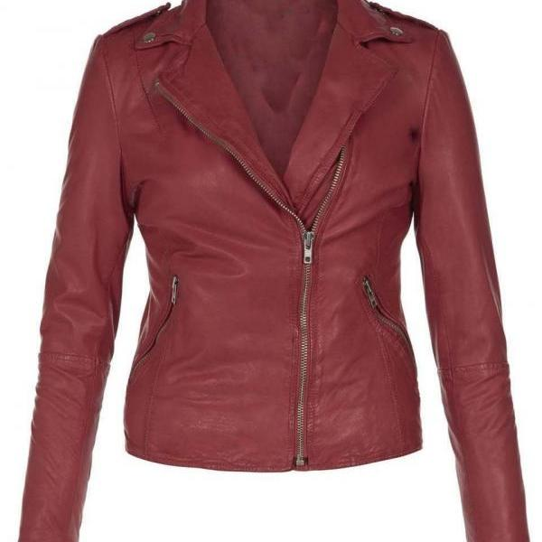 WOMEN MAROON LEATHER JACKET, WOMENS LEATHER JACKETS, BIKER LEATHER JACKET