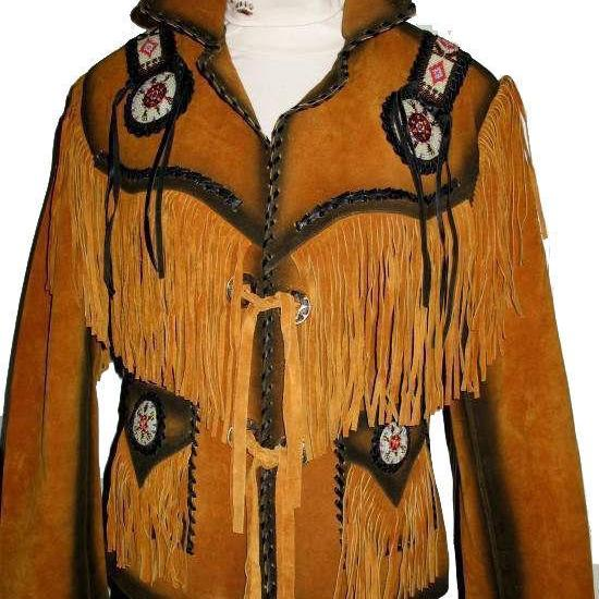 Women Golden Brown Western Leather Jacket Fringe, Bone Beads with Black contrast