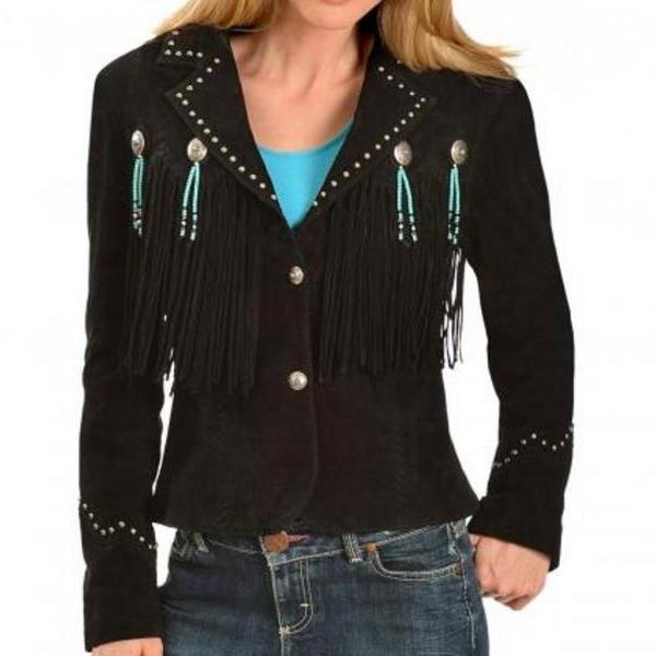 Women black Suede Leather Western Cowboy Jacket With Fringe, fringe jackets