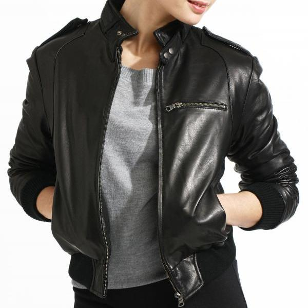 New womens genuine leather jacket, Women biker leather jacket, Womens jackets