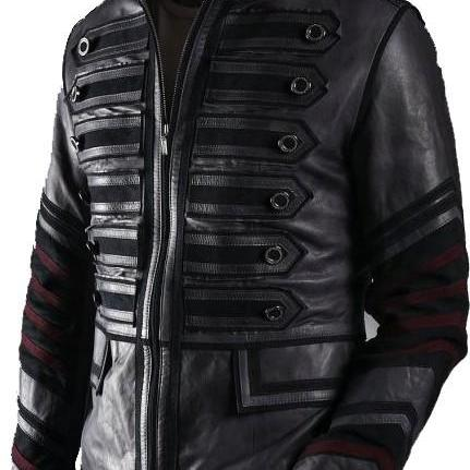 Handmade Custom New Men Military Style with Maroon Stripes Leather Jacket, men leather jacket, Leather jacket for men, Biker Leather Jacket, Motorcycle Jacket